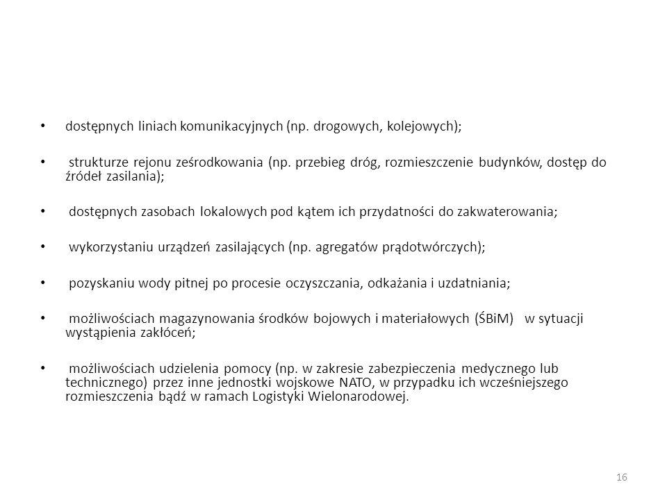 dostępnych liniach komunikacyjnych (np. drogowych, kolejowych);