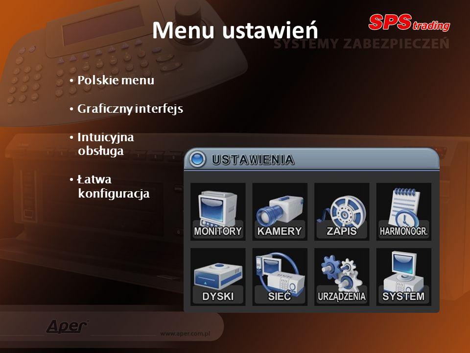 Menu ustawień Polskie menu Graficzny interfejs Intuicyjna obsługa