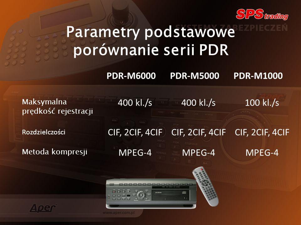 Parametry podstawowe porównanie serii PDR