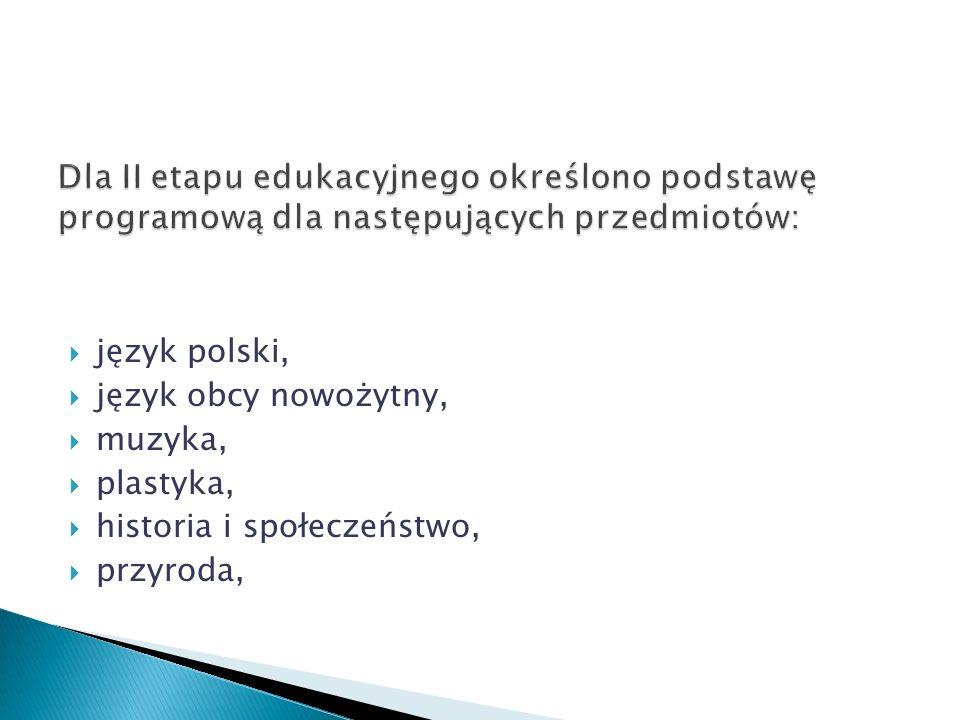 Dla II etapu edukacyjnego określono podstawę programową dla następujących przedmiotów:
