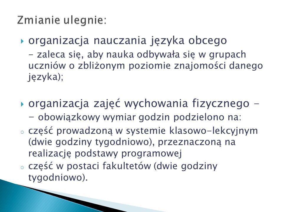 organizacja nauczania języka obcego