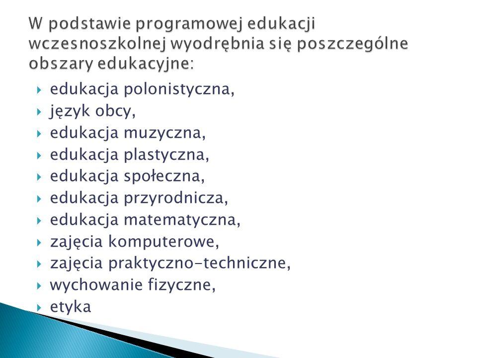 W podstawie programowej edukacji wczesnoszkolnej wyodrębnia się poszczególne obszary edukacyjne: