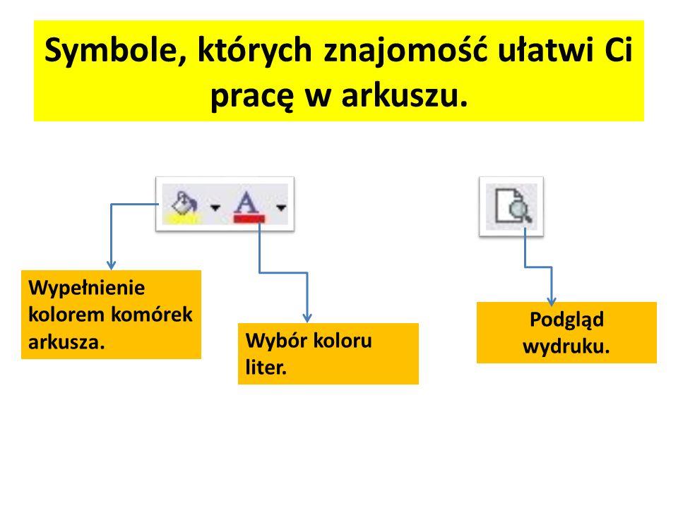 Symbole, których znajomość ułatwi Ci pracę w arkuszu.