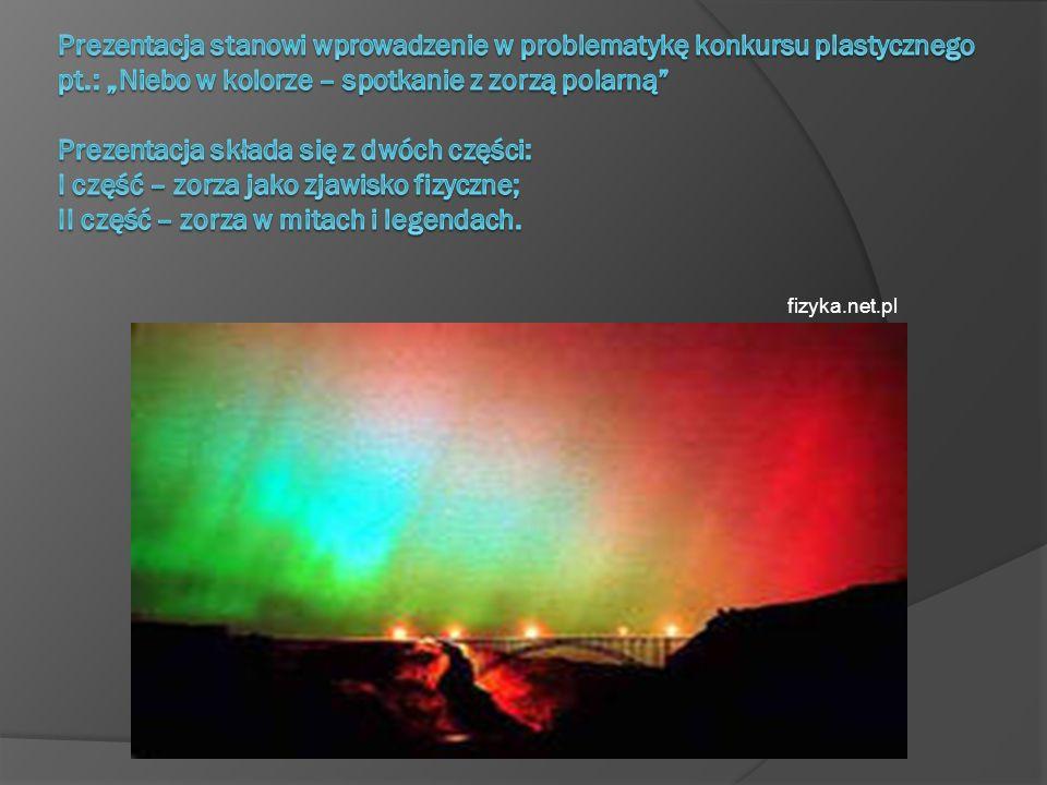 """Prezentacja stanowi wprowadzenie w problematykę konkursu plastycznego pt.: """"Niebo w kolorze – spotkanie z zorzą polarną Prezentacja składa się z dwóch części: I część – zorza jako zjawisko fizyczne; II część – zorza w mitach i legendach."""
