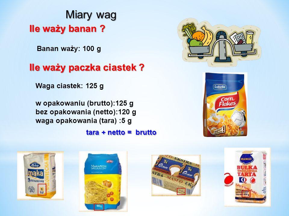 Miary wag Ile waży banan Ile waży paczka ciastek Banan waży: 100 g