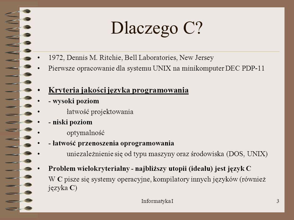 Dlaczego C Kryteria jakości języka programowania