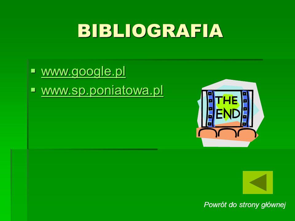BIBLIOGRAFIA www.google.pl www.sp.poniatowa.pl