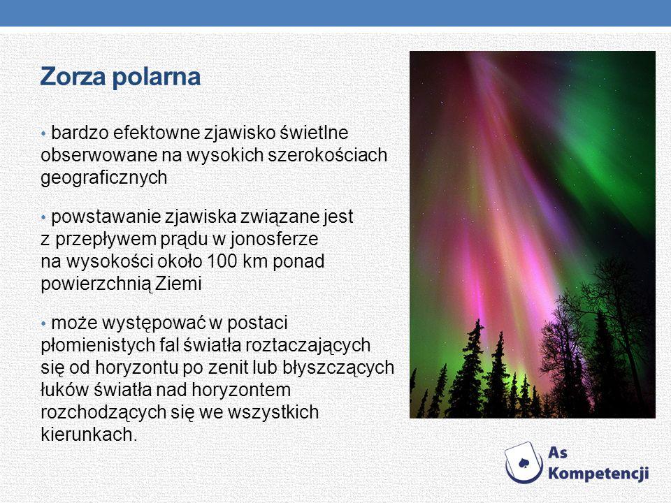 Zorza polarna bardzo efektowne zjawisko świetlne obserwowane na wysokich szerokościach geograficznych.