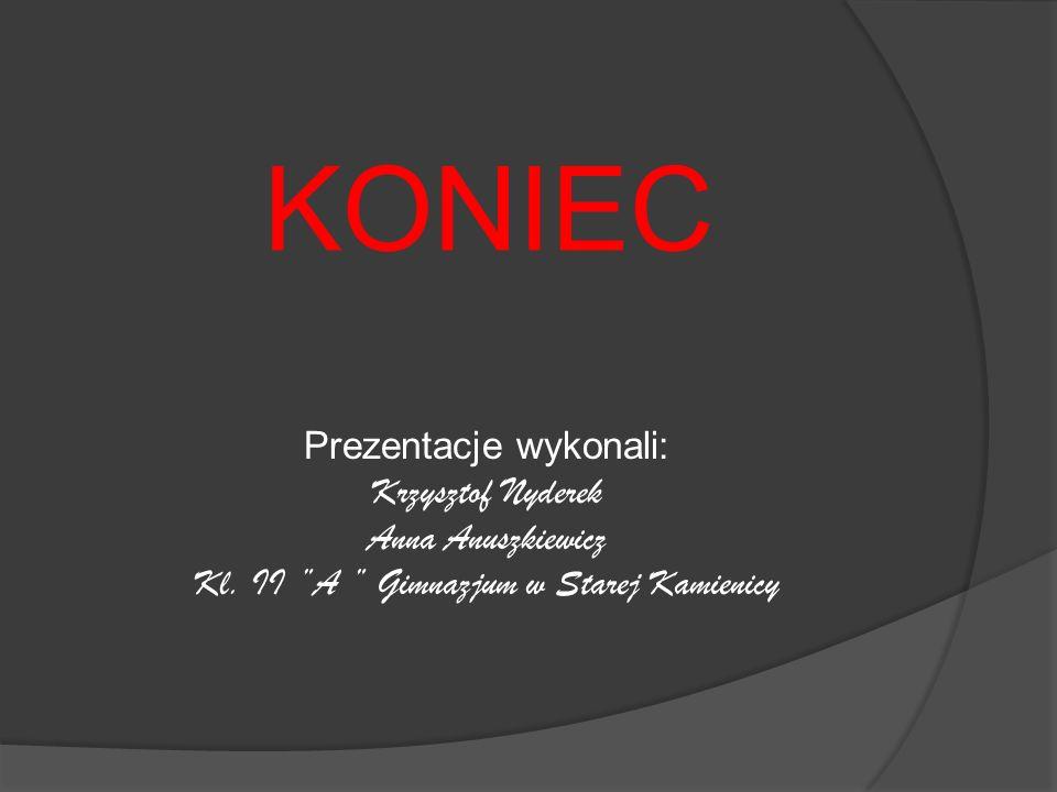 KONIEC Prezentacje wykonali: Krzysztof Nyderek Anna Anuszkiewicz