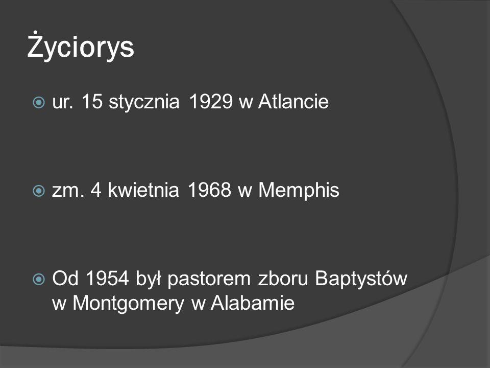 Życiorys ur. 15 stycznia 1929 w Atlancie zm. 4 kwietnia 1968 w Memphis