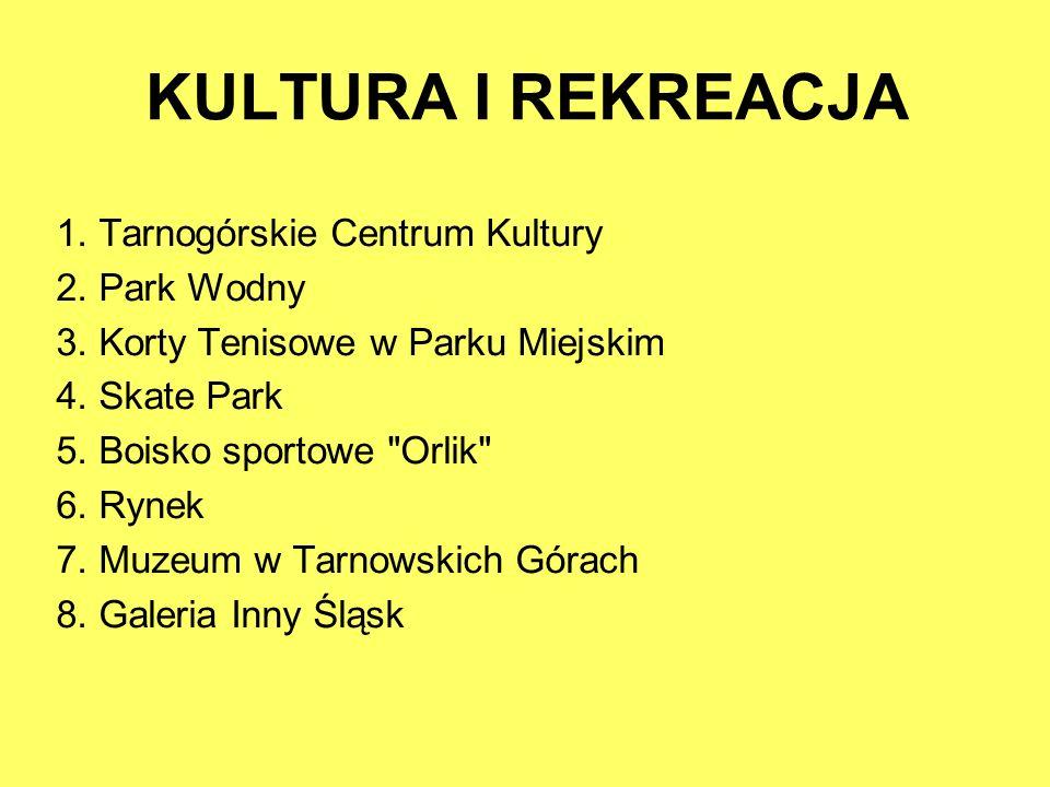 KULTURA I REKREACJA 1. Tarnogórskie Centrum Kultury 2. Park Wodny