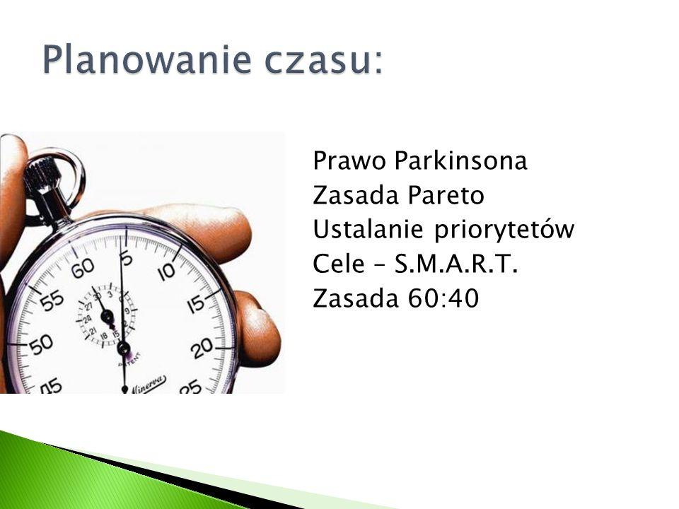 Planowanie czasu: Prawo Parkinsona Zasada Pareto Ustalanie priorytetów Cele – S.M.A.R.T.