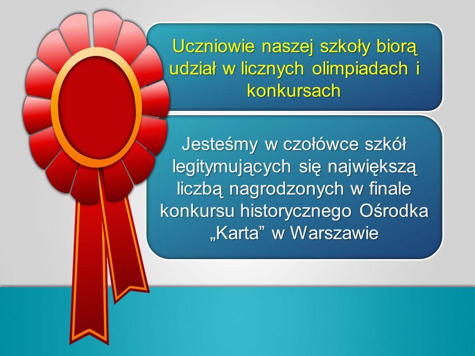Uczniowie naszej szkoły biorą udział w licznych olimpiadach i konkursach