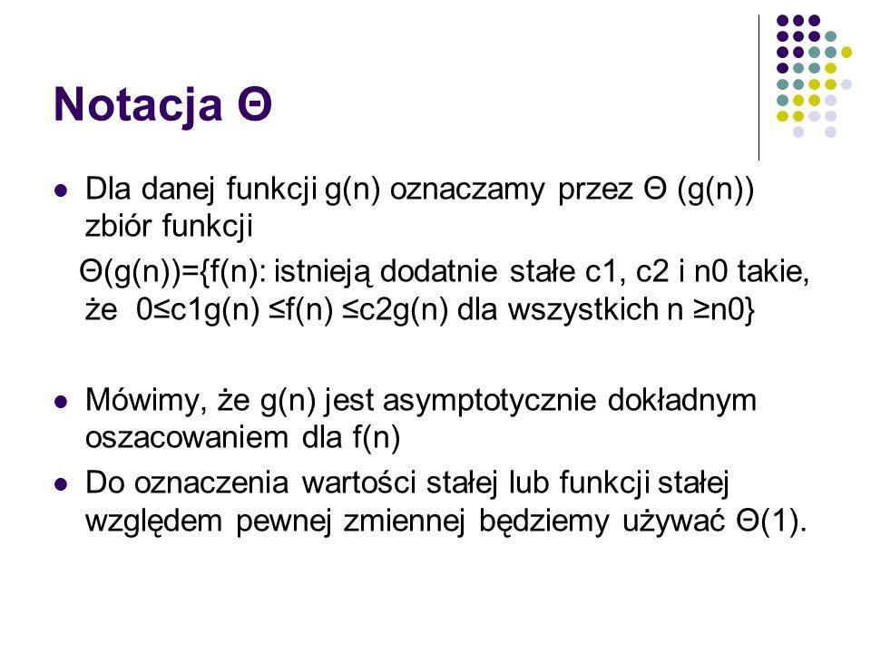 Notacja Θ Dla danej funkcji g(n) oznaczamy przez Θ (g(n)) zbiór funkcji.