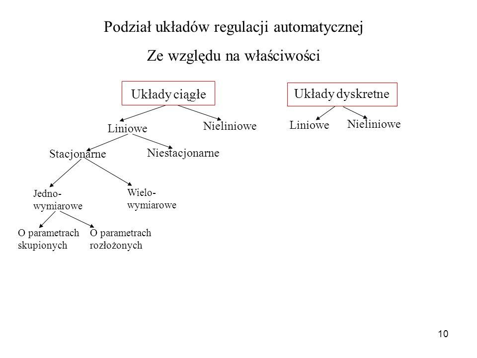 Podział układów regulacji automatycznej Ze względu na właściwości