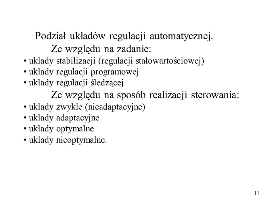 Ze względu na zadanie: Podział układów regulacji automatycznej.
