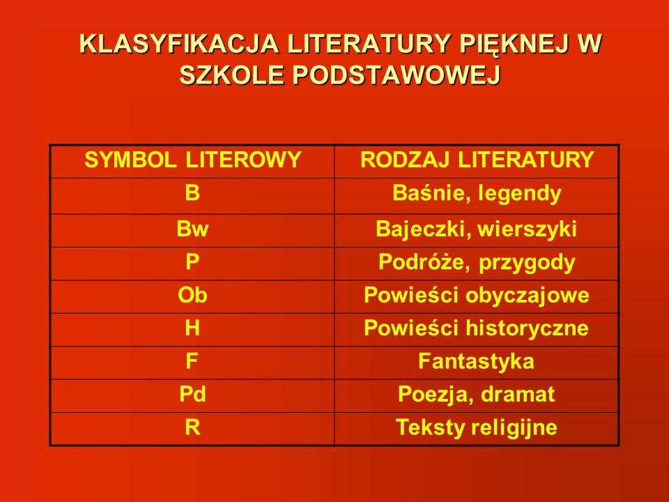 KLASYFIKACJA LITERATURY PIĘKNEJ W SZKOLE PODSTAWOWEJ