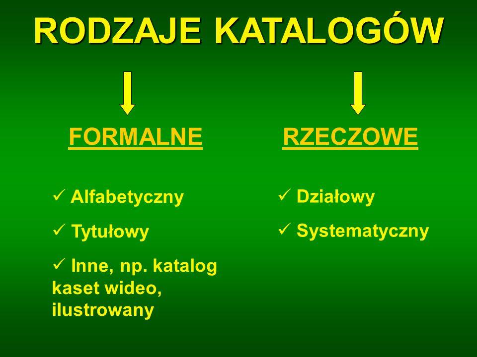 RODZAJE KATALOGÓW FORMALNE RZECZOWE Alfabetyczny Działowy Tytułowy