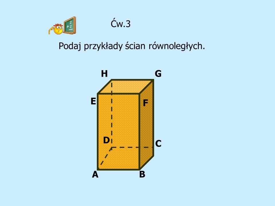 Ćw.3 Podaj przykłady ścian równoległych. G A B C D E F H