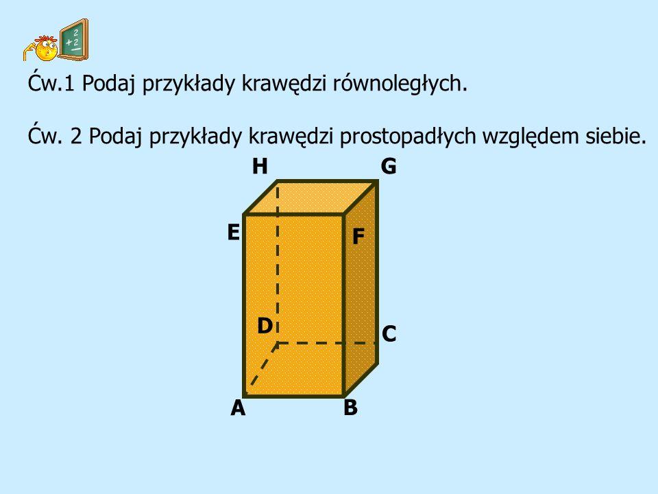 Ćw.1 Podaj przykłady krawędzi równoległych.