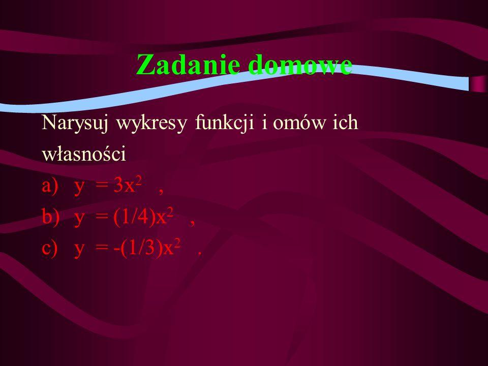 Zadanie domowe Narysuj wykresy funkcji i omów ich własności y = 3x2 ,
