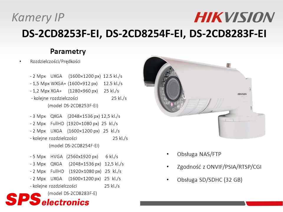 Kamery IP DS-2CD8253F-EI, DS-2CD8254F-EI, DS-2CD8283F-EI