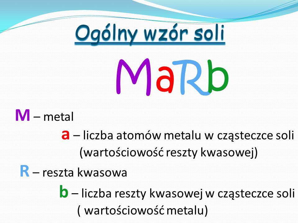 MaRb Ogólny wzór soli M – metal