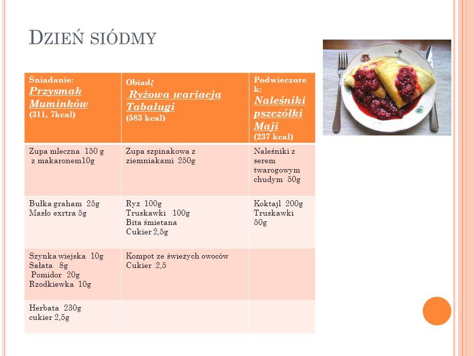 Dzień siódmy Przysmak Muminków Ryżowa wariacja Tabalugi Śniadanie: