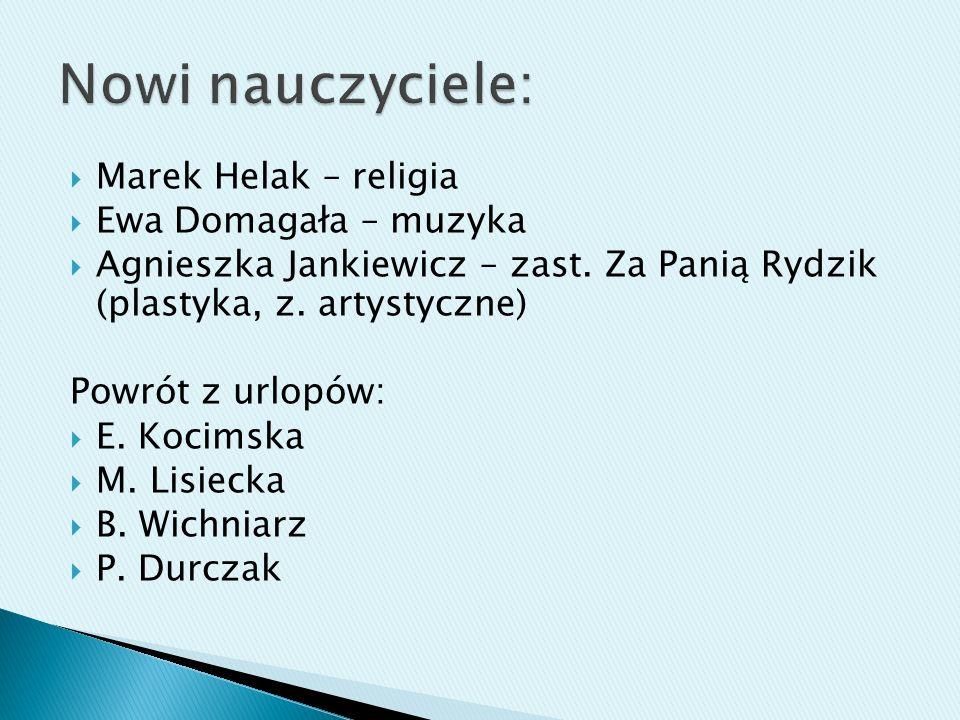 Nowi nauczyciele: Marek Helak – religia Ewa Domagała – muzyka
