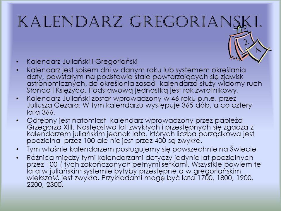 Kalendarz gregoriaNski.