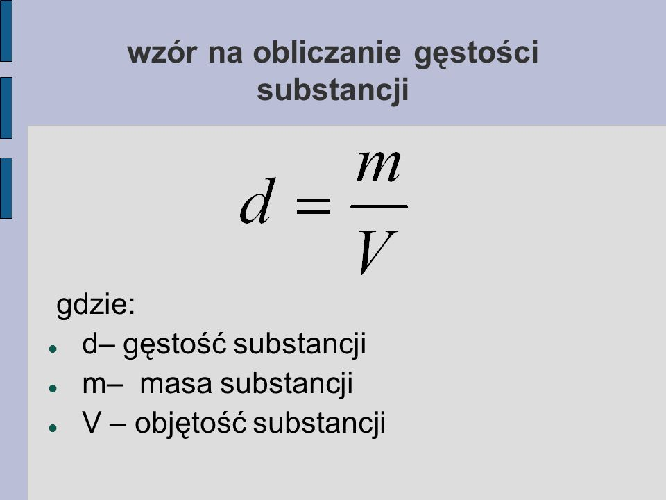 wzór na obliczanie gęstości substancji
