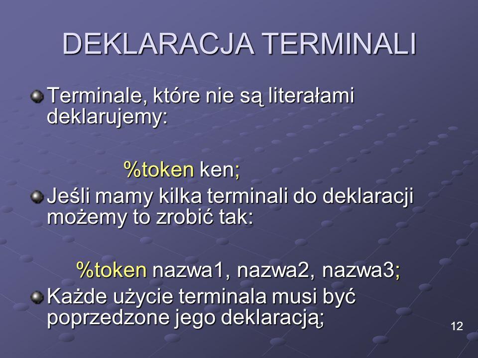 DEKLARACJA TERMINALI Terminale, które nie są literałami deklarujemy: