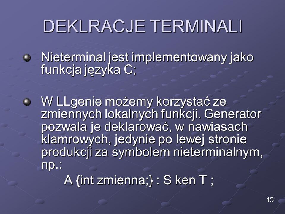 DEKLRACJE TERMINALI Nieterminal jest implementowany jako funkcja języka C;