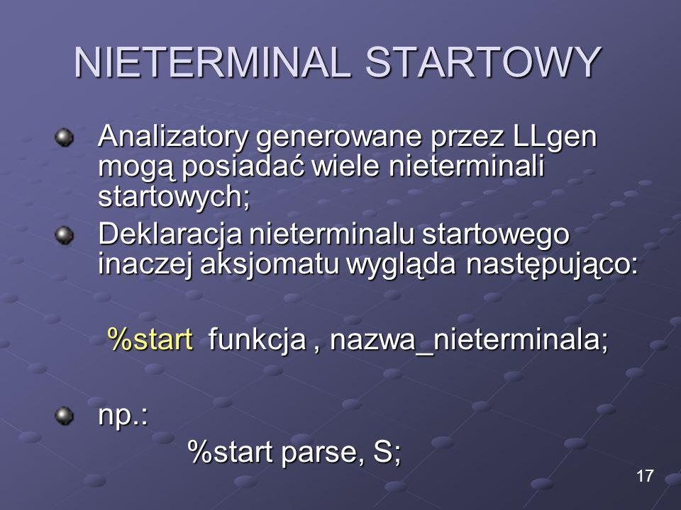 NIETERMINAL STARTOWY Analizatory generowane przez LLgen mogą posiadać wiele nieterminali startowych;