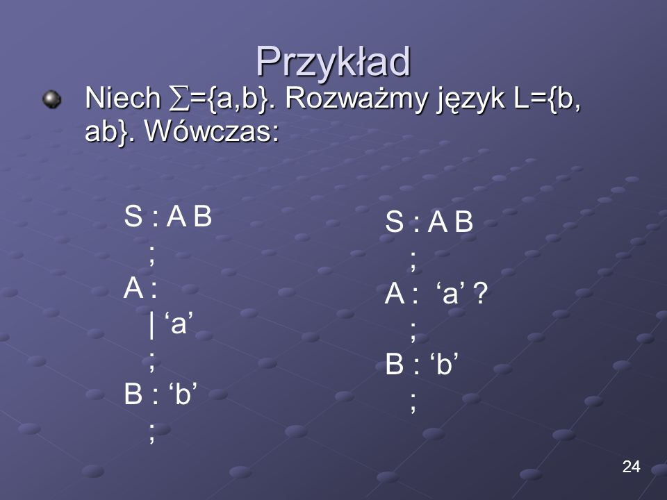 Przykład Niech ={a,b}. Rozważmy język L={b, ab}. Wówczas: S : A B