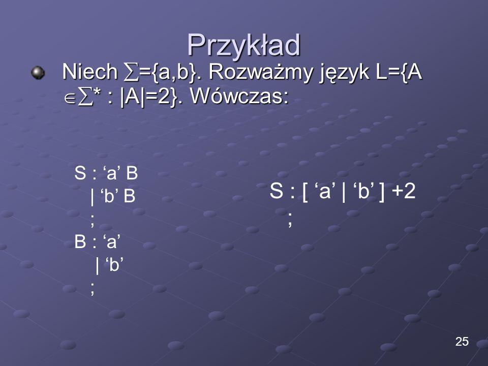 Przykład Niech ={a,b}. Rozważmy język L={A * : |A|=2}. Wówczas: