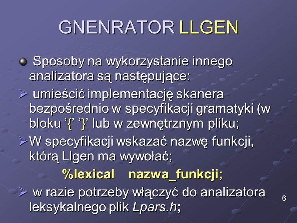 GNENRATOR LLGEN Sposoby na wykorzystanie innego analizatora są następujące: