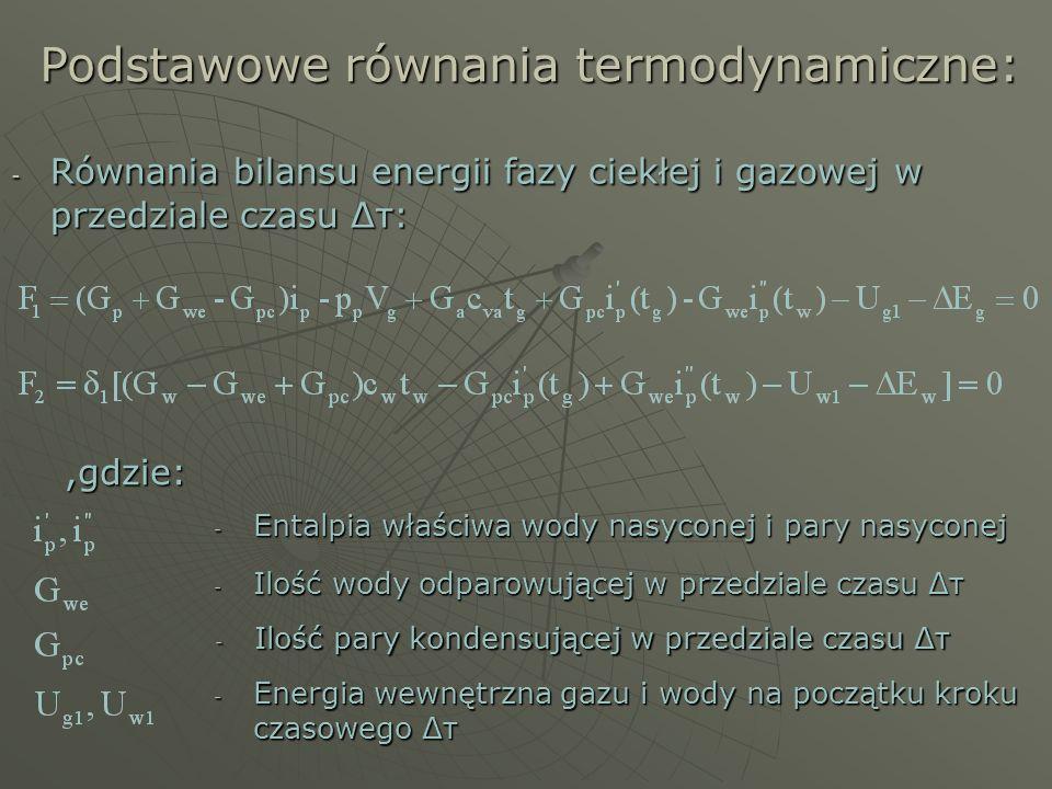 Podstawowe równania termodynamiczne: