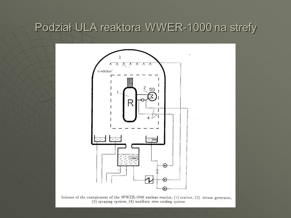 Podział ULA reaktora WWER-1000 na strefy