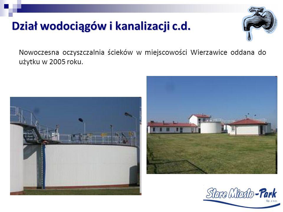 Dział wodociągów i kanalizacji c.d.