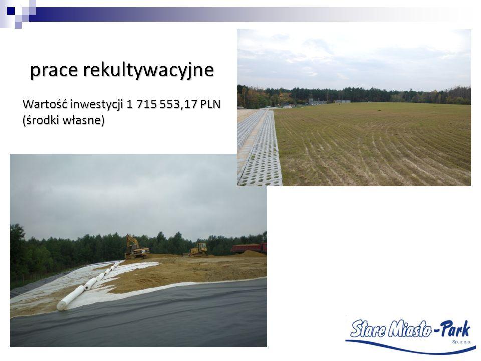 prace rekultywacyjne Wartość inwestycji 1 715 553,17 PLN