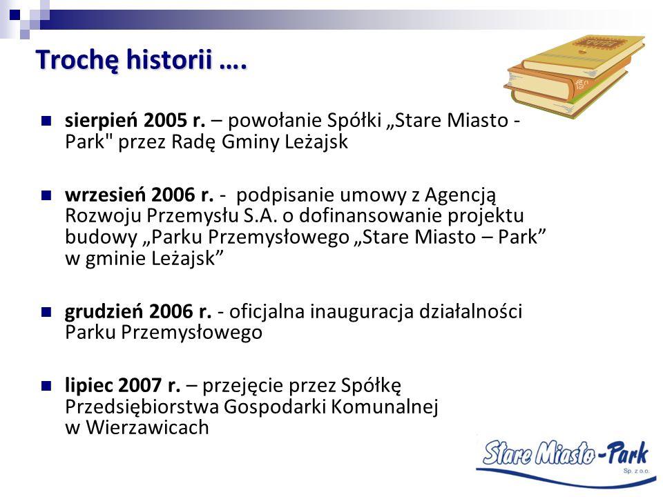 """Trochę historii …. sierpień 2005 r. – powołanie Spółki """"Stare Miasto - Park przez Radę Gminy Leżajsk."""