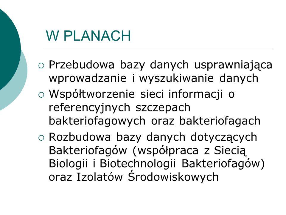 W PLANACH Przebudowa bazy danych usprawniająca wprowadzanie i wyszukiwanie danych.