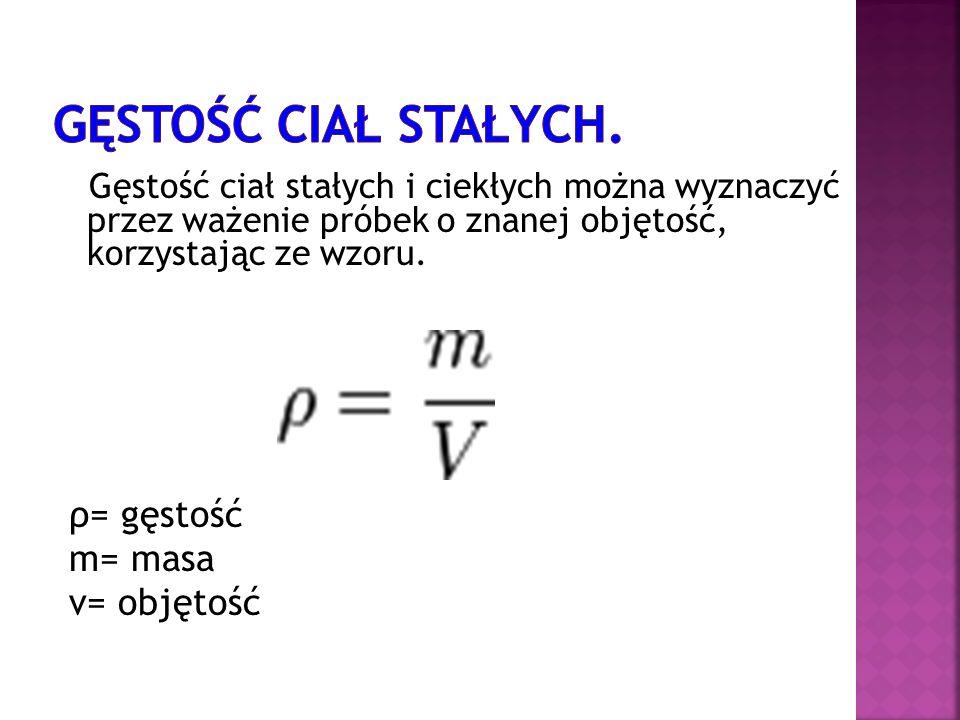 Gęstość ciał stałych. ρ= gęstość m= masa v= objętość
