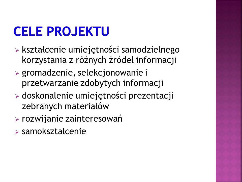 Cele projektu kształcenie umiejętności samodzielnego korzystania z różnych źródeł informacji.