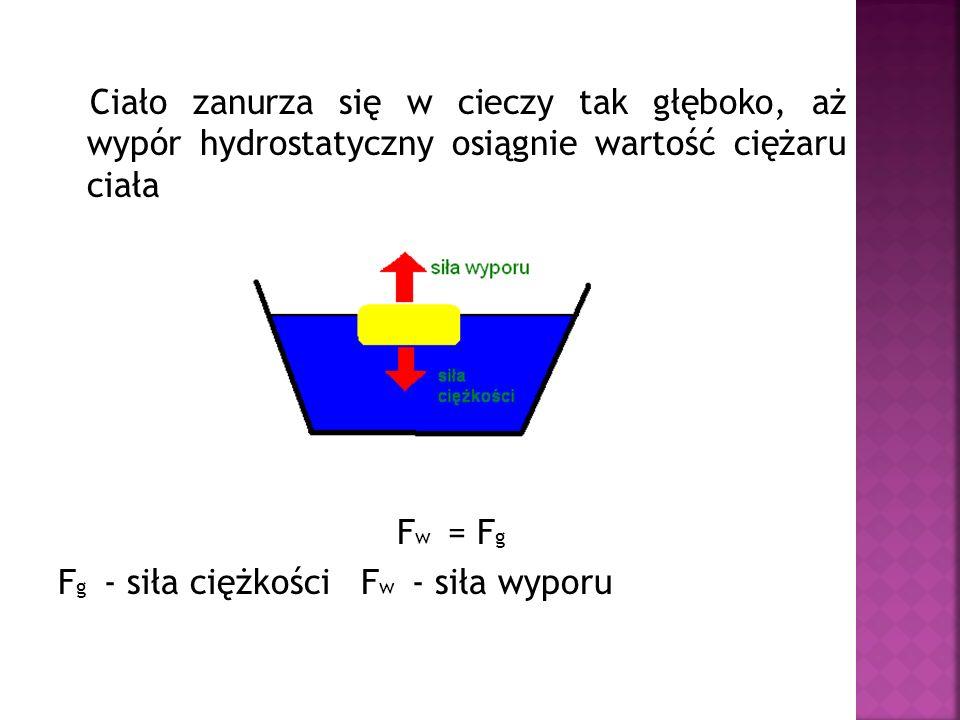 Ciało zanurza się w cieczy tak głęboko, aż wypór hydrostatyczny osiągnie wartość ciężaru ciała