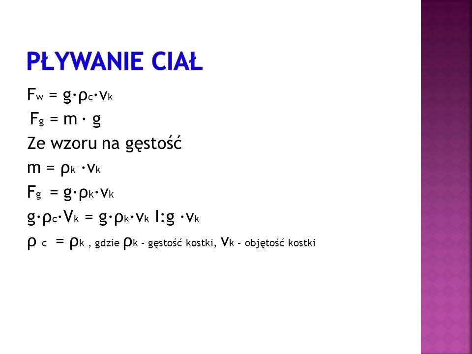 Pływanie ciał Fw = g∙ρc∙vk Ze wzoru na gęstość m = ρk ∙vk Fg = g∙ρk∙vk