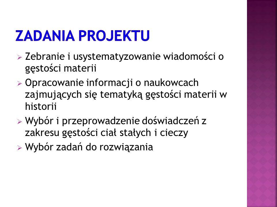 Zadania projektu Zebranie i usystematyzowanie wiadomości o gęstości materii.