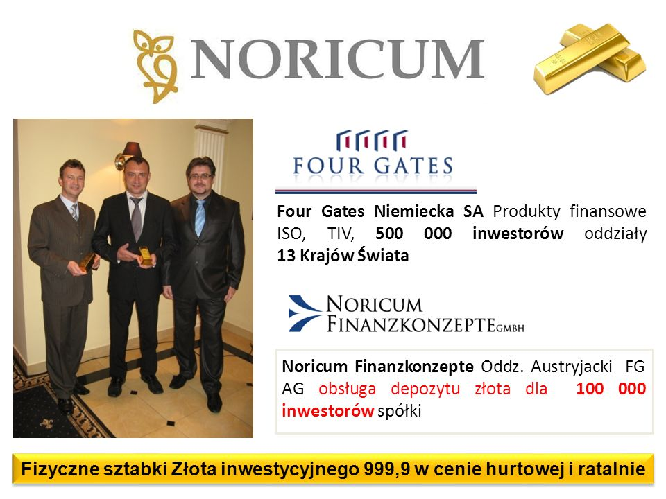 Four Gates Niemiecka SA Produkty finansowe ISO, TIV, 500 000 inwestorów oddziały 13 Krajów Świata