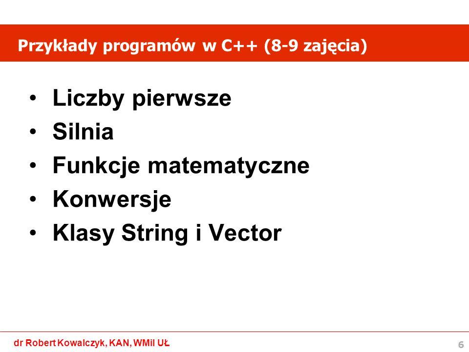 Przykłady programów w C++ (8-9 zajęcia)
